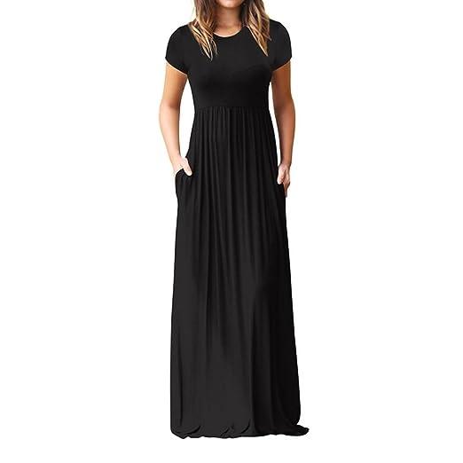 ddf53706ff Muranba Women Dress Clearance, Women's Short Sleeve High Waist Loose Plain  Casual Long Maxi Dress
