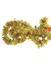 Senmubery Gold Tinsel Garland Star Ribbon for Christmas Tree Decorations Wedding Birthday Party Supplies 10Pcs