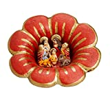 Ten Thousand Villages Red And Gold Ceramic Nativity 'Fire Lily Nativity'