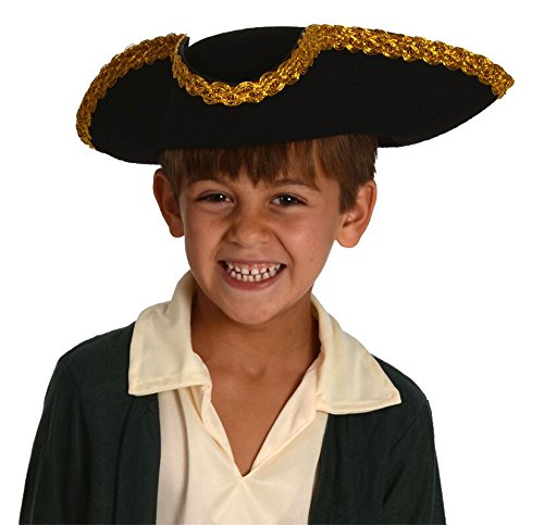 George Washington Costume Youth (Kids Revolutionary War Deluxe Colonial Tricorn Hat)