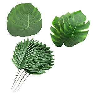 WSSROGY 20 Pack Artificial Palm Leaves Faux Palm Tree Leaf Fake Monstera Tropical Leaves Beach Hawaii Luau Baby Shower Wedding Ceremony Party Decoration, Green 44