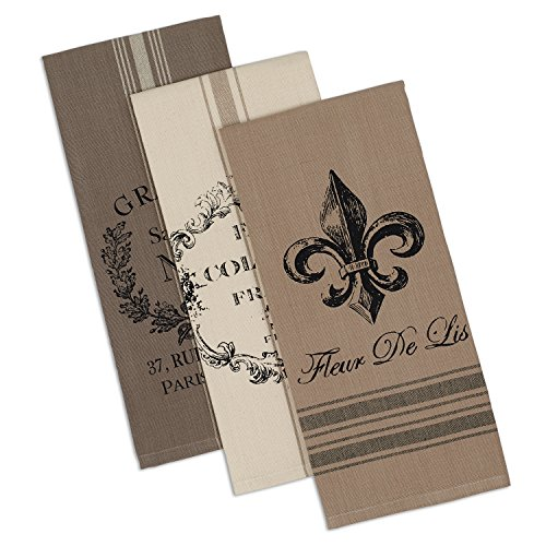 DII Cotton French Grain Sack Dish, Decorative Tea Towels for Everyday Kitchen Cooking and Baking Fleur De Lis, 18x28