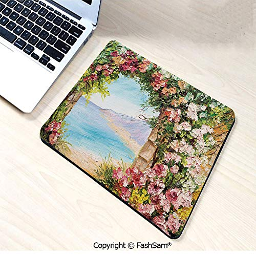 (Desk Mat Mouse Pad Old Antique Arch Covered by Rose Petals Branches Romantic Italian Panorama Sea Print Decorative for Office(W9.85xL11.8))
