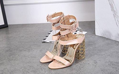 Aisun Damen Lack Kunstleder Offene Zehen Knöchelriemchen Blockabsatz Sandale mit Reißverschluss Aprikosenfarben