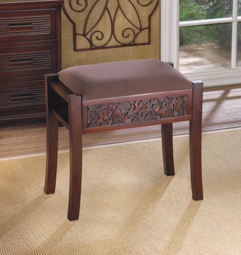 Vanity Footstool - Modern Padded Cushion Brown Wood Bench Wide Vanity Seat Stool Footstool Ottoman