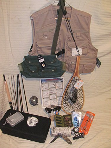 Sportsman Gear & Gift Bundles Complete Deluxe Fly Fishing Gear/Gift Bundle with Rod, Vest, Flies and Additional Accessories (31 Items) (X-Large)