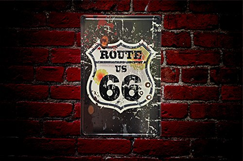 YOSEE Route 66 Rustic Metal Tin Signs Wall Decor Art 8x12 Inches (20x30cm)