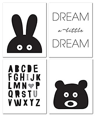 "8""x10"" Black and White Nursery Prints for Baby and Children Room Decor & Decorations Perfect for Baby Shower Gift Ideas"