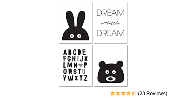 Set of 3 Dream Big ABC My Little Star Black Prints Nursery Kids Room Wall Art