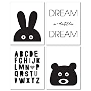 8 x10  Black and White Nursery Prints for Baby and Children Room Decor & Decorations Perfect for Baby Shower Gift Ideas