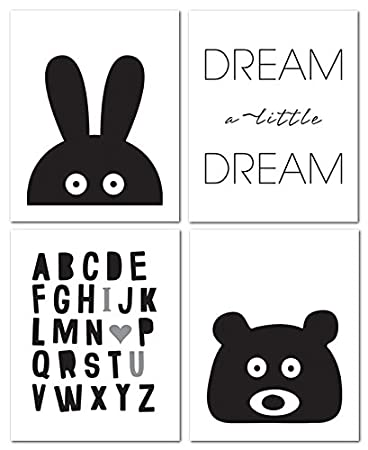 Amazoncom 8x10 Black And White Nursery Prints For Baby And