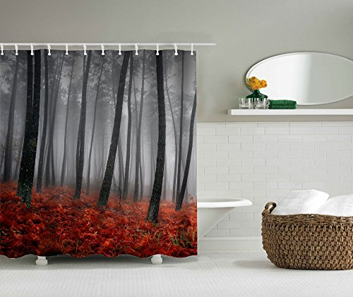 Decohon Mystic Red Grey Forest Polyester Fabric Shower Curtain Digital Printing Mildew Resistant Waterproof Antibacterial Machine Washable, 72