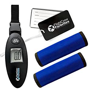 Digital Luggage Scale, Luggage Tags and Handle Wraps - Easily Check Your Bag Weight - Quickly Identify Your Suitcase - Eliminate Hand Stress - All Your Travel Necessities in One Bundle