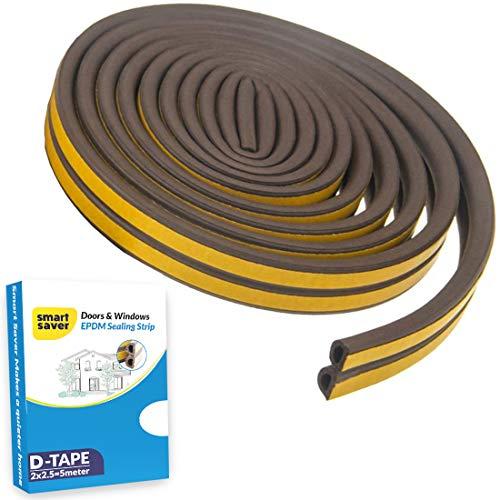Smart Saver D Shaped (Brown) Self-Adhesive Epdm Doors and Windows Foam Seal Strip Rubber Weatherstrip 5 Meter (2 X 2.5 M…
