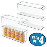 mDesign Refrigerator, Freezer, Pantry, Cabinet Organizer Bin for Kitchen Storage - Clear, Pack of 4