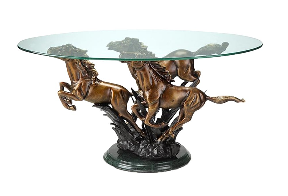 Galloping Horse Trio Metal and Glass Coffee Table