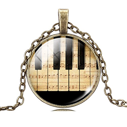Joyplancraft Vintage Piano String Pendant Necklace Best Gift to Pianist Music Lover Gift (Brass Style) (Piano Pendant)
