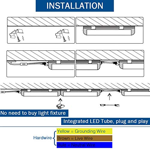 8Ft LED Shop Light Fixture, 72W Integrated LED Tube Light, 7200LM, 6500K, Double Row V Shape 270 Degree Lighting LED Bulbs for Garage Warehouse Workshop Basement, Plug and Play (Pack of 4) by LDSS (Image #6)