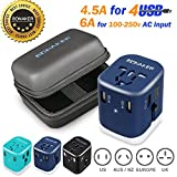 Bonaker Travel Adapter Universal Travel Adapter 4.5A 4 USB Charging Ports Worldwide All in One Universal Power Converter Wall AC Power Plug Adapter Power Plug Wall Charger Purple by