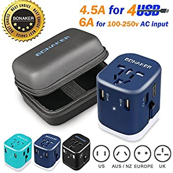 Travel Adapter Universal Travel Adapter 4.5A 4 USB Charging Ports Worldwide All in One Universal Power Converter Wall AC Power Plug Adapter Power Plug Wall Charger Purple by BONAKER