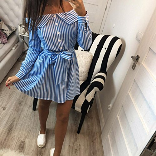 Shoulder Stripes BSGSH Women Casual Belt with Sleeve Button Off s Long Blue Dress Decor Mini qw4XwI