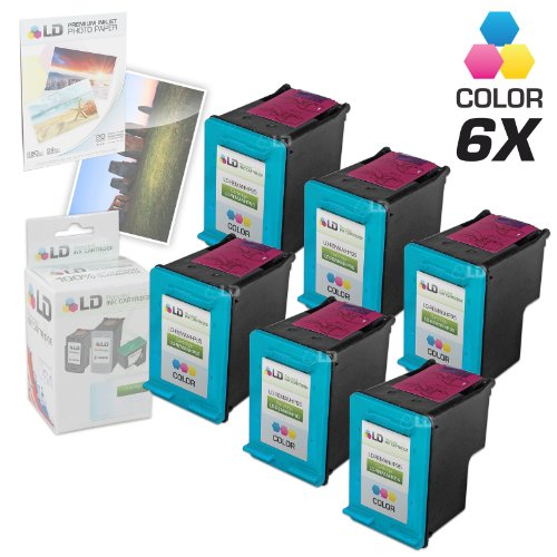 LD Remanufactured Replacement Ink Cartridges for Hewlett Packard C8766WN (HP 95) Tri-Color (6 Pack) + Free 20 Pack of Brand 4x6 Photo Paper -