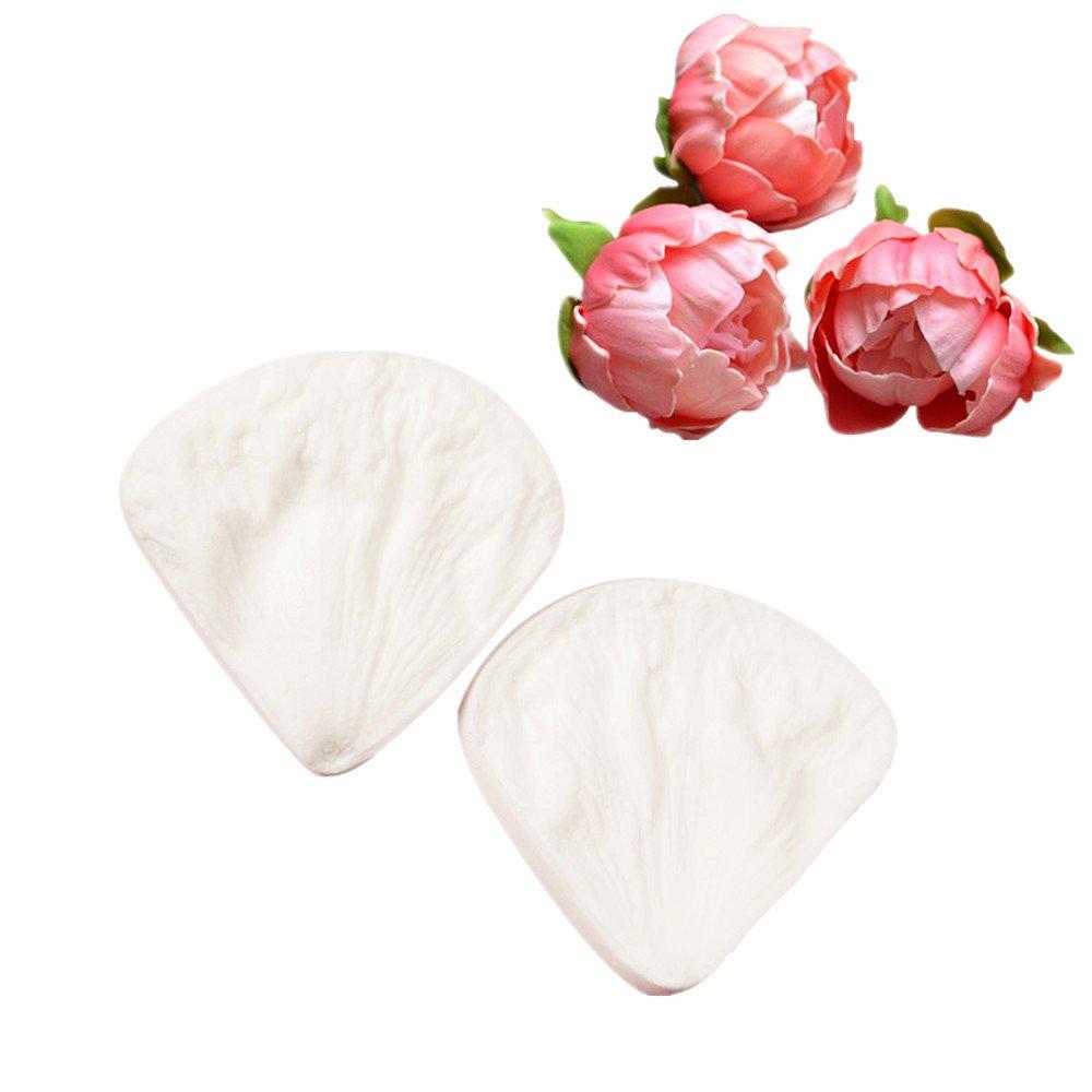 Juego de 6 piezas de cortador de flores y 2 moldes de silicona para fondant, pasta de peonía, fondant, flores, verduras, chocolate: Amazon.es: Hogar