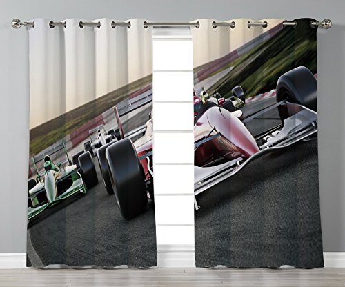 Panel Track Bali (Satin Grommet Window Curtains,Man Cave Decor,Red Race Car Close Up Front View on a Track Leading the Pack Speedway Image Decorative,Multicolor,2 Panel Set Window Drapes,for Living Room Bedroom Kitchen)