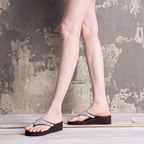 35 Black strass femminili Colore spiaggia Pantofole estive Brown da dimensioni ciabatte e Moda impermeabili in sandali wvnxq6ZUH
