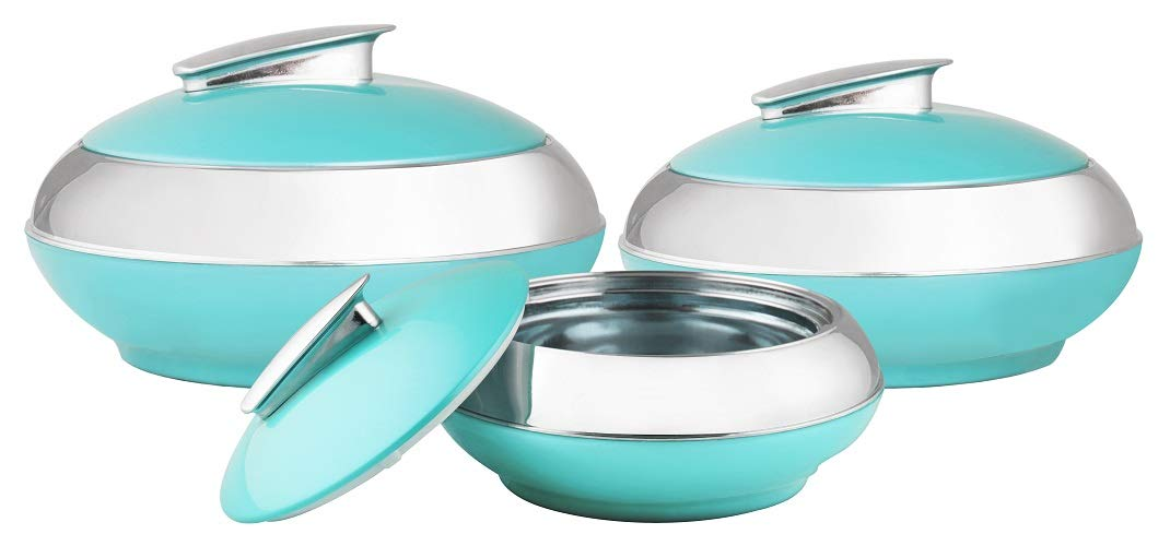 Princeware Plastic Opal Casserole Insulated, Dishwasher-Safe, Freezer Safe, Covered Lid with Steel Ring, 3100ml, Set of 3, Green