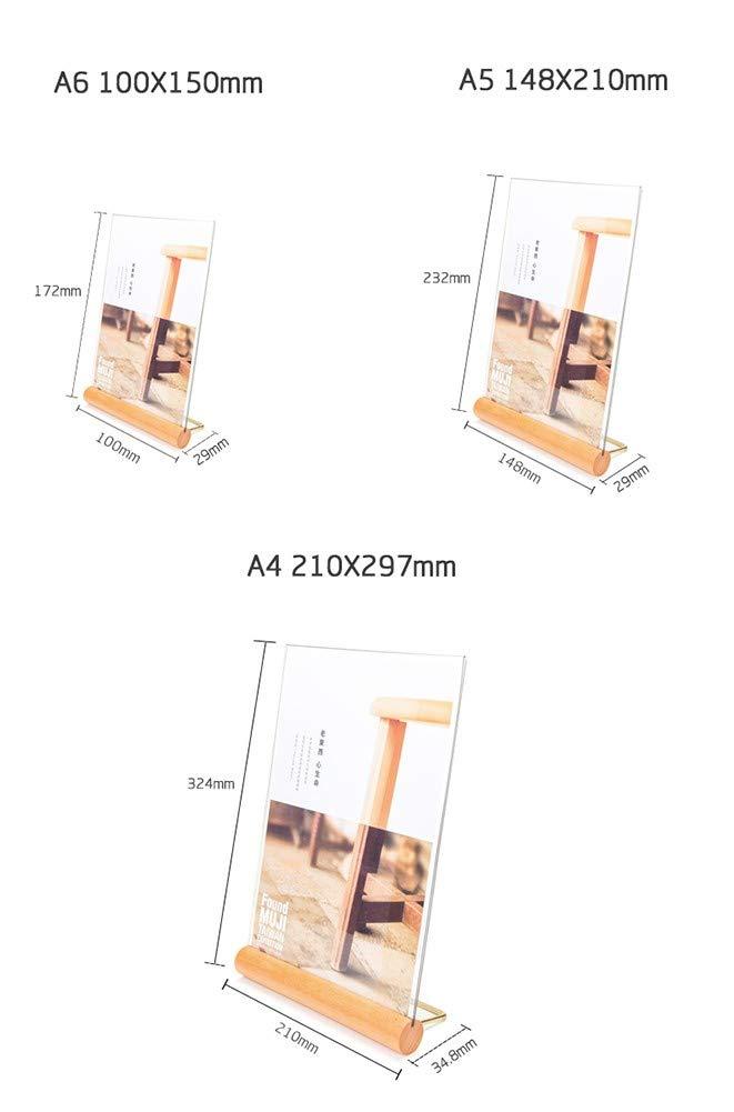 ZYHA Acrilico in Formato A4//5//6,a Forma di L Doppio.Ideale per Promozioni Ristoranti Cornici per Foto Documenti e Altro