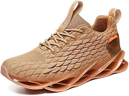 LIH Zapatos De Hombre Ultraligeros Zapatillas De Maratón Acolchadas con Aire Zapatillas De Deporte Casuales Trenzadas Zapatos De Viaje,Orange-45: Amazon.es: Hogar