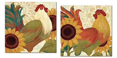 Wall Letters Toile - Colorful Bohemian Rooster and Sunflower Set by Veronique Charron; Country Decor; Two 12x12in Poster Prints
