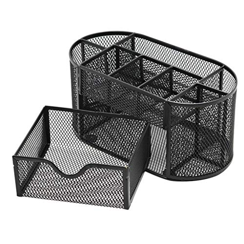 Transser Pen Holder, Pencil Holder Mesh Office Desk Supplies Organizer Set, Multi-Functional Stationery Caddy Mesh Oval Pencil Holder 9 Compartments with Drawer