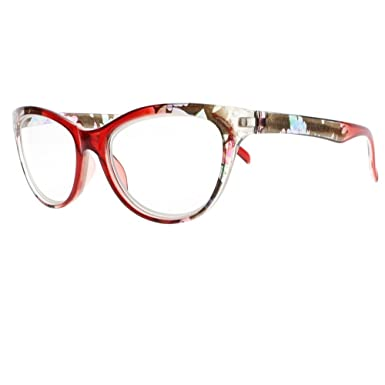 94ebb211f37 Amazon.com  Women Multi-Color Cat Eye Flower Full Frame Reader Reading  Glasses +1.00 ~ +4.00 (ALL 3 COLORS