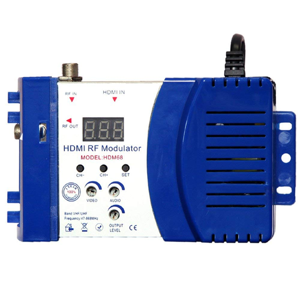 AIkong HDM68 Modulator Digital RF HDMI Modulator VHF UHF Frequency PAL/NTSC Standard Blue