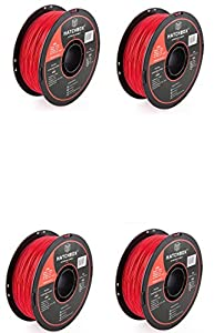 HATCHBOX ABS 3D Printer Filament, Dimensional Accuracy +/- 0.03 mm, 1 kg Spool, 1.75 mm, Red by HATCHBOX
