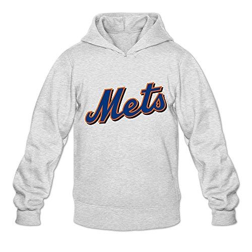 WYBU Men's Mets Long Sleeve Hoodies Size M Ash,100% Cotton (Mets Sweatshirt Mens)