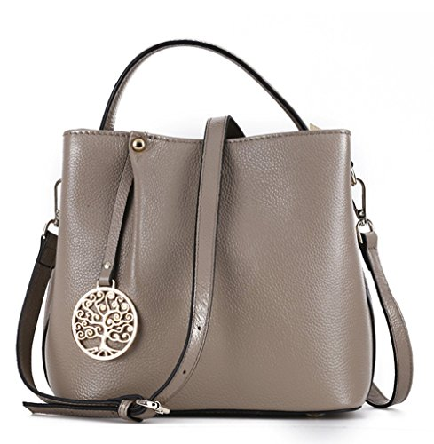 Mn&Sue Modern Lady Celebrity Cowhide Genuine Leather Top Handle Handbag Shoulder Hobo Bucket Bag Satchel (Khaki) ()