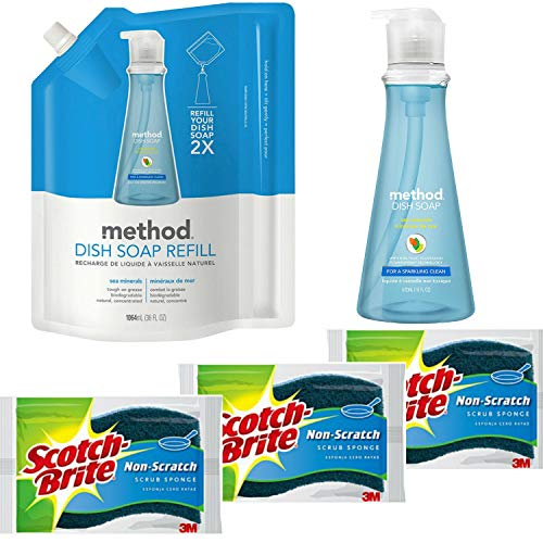 - Method Liquid Dish Soap Bundle with 18 oz. Dispenser, 36 oz. Refill and 3 Scotch-Brite Sponges | Naturally Derived Dish and Hand Soap (Sea Minerals)