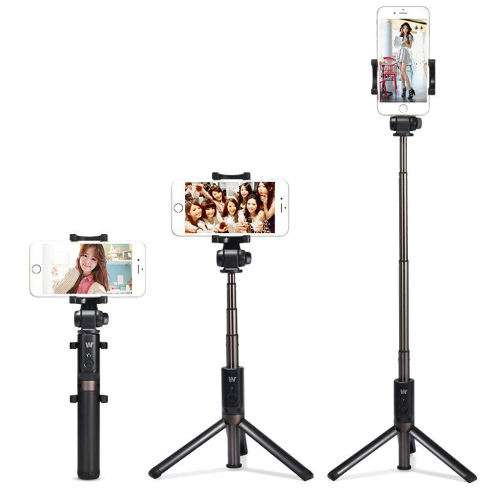 ZXWCYJ Extendable Selfie Stick Tripod with Wireless Bluetooth Remote.Phone Camera Lens,Wide Angle Lens,with Led Light, Android, Samsung, Tablets and iPhone Lens. Photography,Black