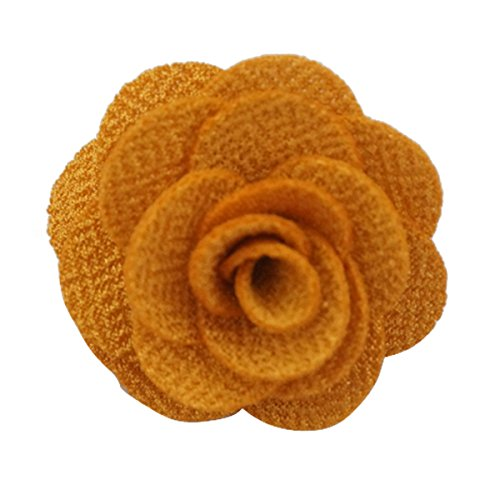 Sunny Home Men's Lapel Flower Handmade Boutonniere Pin for Suit (Yellow)