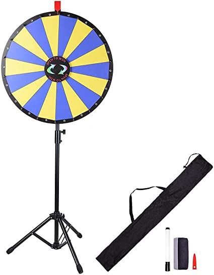"""24/"""" Floor Stand Prize Wheel Fortune Spin Game 18 Slot Carnival Trades"""