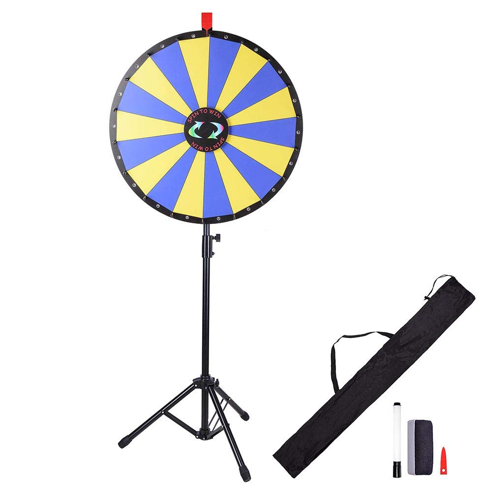 WinSpin 24'' Floor Stand Prize Wheel LED Lights Tripod Fortune Spin Game 18 Slot Acrylic Board Carnival Tradeshow