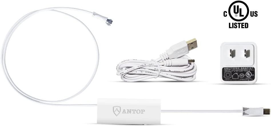 Antop TV Antenna Amplifier, Antenna Signal Booster with USB Power Supply, Compatible with All Non-Amplified Antenna, 3ft Coaxial Cable, 5ft USB Cable, White