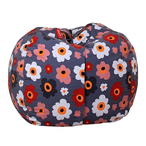 Albatron Kids Stuffed Animal Plush Toy Storage Bean Bag Soft Pouch Stripe Fabric Chair Red (H)