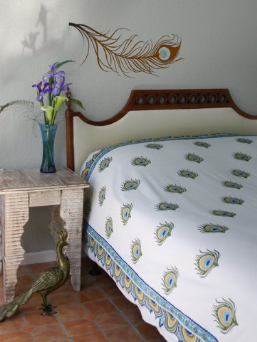 Dance O Peacock ~ Ivory Peacock Feather Print King Bedspread 108x90 by Saffron Marigold