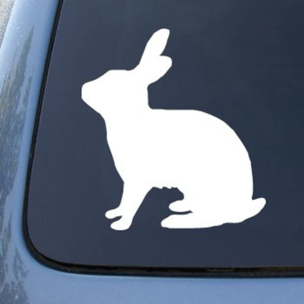 "CMI553 RABBIT SILHOUETTE - Bunny | Die Cut Vinyl Car Decal Sticker for Car Window Bumper Truck Laptop Ipad Notebook Computer Skateboard Motorcycle | Premium White Vinyl Decal | 5.75"" X 5.25"""