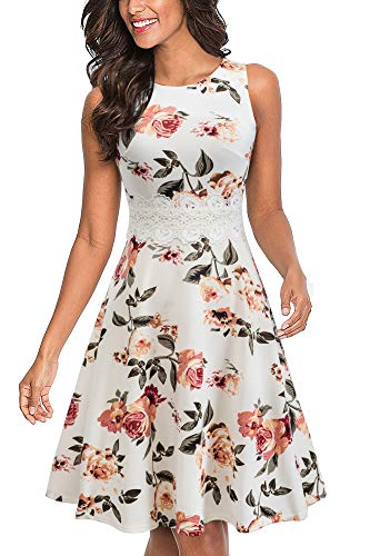 HOMEYEE Women's Vintage 50s Sleeveless Floral Embroidered Cocktail Swing Dress A079