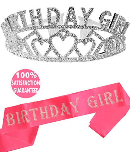 (Birthday Girl Sash and Tiara, Birthday Girl Sash and Crown, Happy Birthday Party Supplies, Favors, Decorations 13th, 16th, 21st, 30th, 40th, 50th, 60th, 70th, 80th, 90th Birthday (Pink) (Silver))